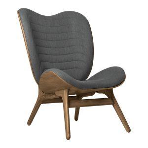 a conversation piece lænestol med høj ryg i mørk eg og slate grey fra umage