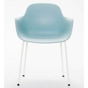 ac3 spisebordsstol med ben i hvid metal og sæde og ryg i isblå fra andersen furniture