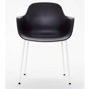 ac3 spisebordsstol med ben i hvid metal og sæde og ryg i sort fra andersen furniture