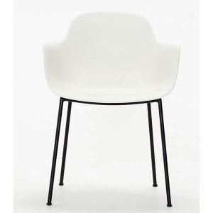 ac3 spisebordsstol med ben i sort metal og sæde og ryg i hvid fra andersen furniture