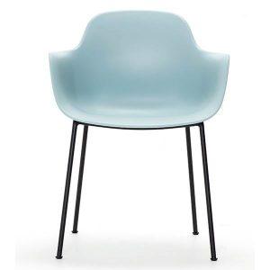 ac3 spisebordsstol med ben i sort metal og sæde og ryg i isblå fra andersen furniture