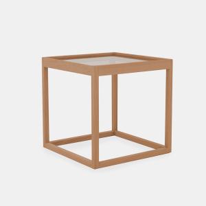 kø cube bord i olieret eg med bordplade i røget glas af kurt østervig fra klassik studio