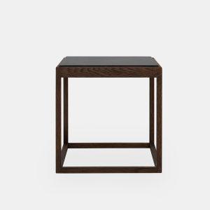 kø cube bord i sortbejdset eg med bordplade i grå marmor af kurt østervig fra klassik studio