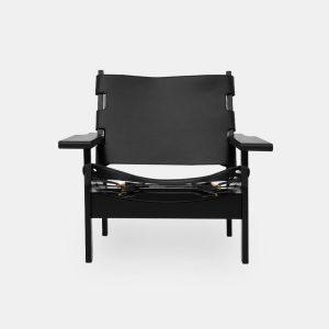 jagtstolen model 168 af kurt østervig i sort eg og sæde og ryg i sort fra klassik studio